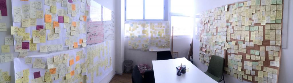 : חדר מחקר. כאן עושים ״download״ לכל התהליך. כל Post-it מייצג תובנה מתוך התהליך שמוביל להצעה - למענה.